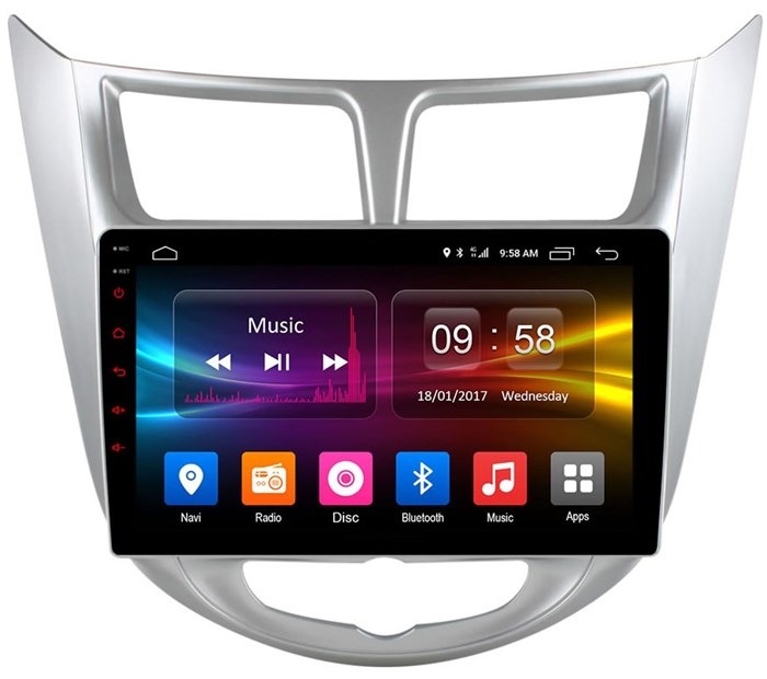 Штатное головное устройство CarMedia OL-9707 для Hyundai Solaris I 2011-2017 на Android 6.0.1 - фото 10639