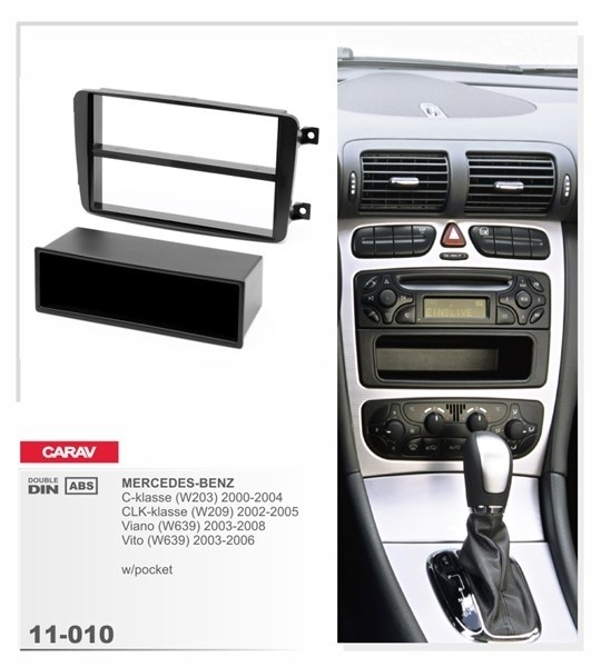Переходная рамка CARAV 11-010 (Mercedes-Benz C-class (W203) 2000-2004, CLK-class 2002-2004, Viano, Vito 2003-2006 (с карманом) ) - фото 33654