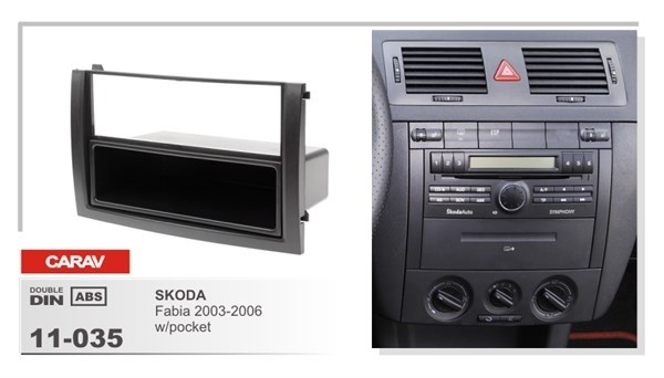 Переходная рамка CARAV 11-035/Incar RSC-N03 (Skoda Fabia 2003-2006 с карманом ) - фото 33694