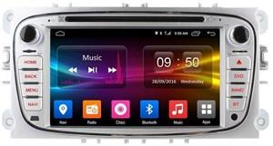 Штатная магнитола CarMedia OL-7202-8 для Ford Focus, Mondeo, C-Max, S-Max (серебро) на Android 6.0.1