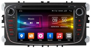 Штатная магнитола CarMedia OL-7202-8 для Ford Focus, Mondeo, C-Max, S-Max (черная) на Android 6.0.1