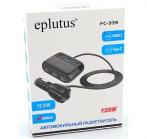 Автомобильный разветвитель Eplutus FC-339 (12-24V, 4800 mA, USBX2, 120W, Type-C)