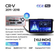 Штатная магнитола Teyes CC2 Plus 3/32 ГБ для Honda CR-V IV 2012-2016 на Android 10.0