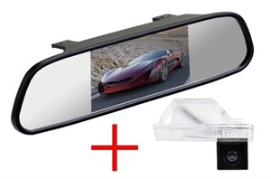 Зеркало + камера cam-043 для Nissan Qashqai, X-trail, Pathfinder, Note, Juke, Navara, Sunny, Patrol - Peugeot 207 / 307 (хетч) / 308 / 3008 / 407 / 408 / 508 / RCZ - Volkswagen Crafter - Citroen C4 / C5 - Lifan X60